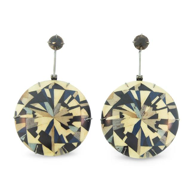 Swoonery-Marquetry Geometric Round Wood Earrings