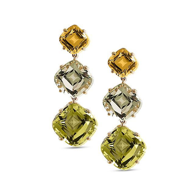 Swoonery-Gossip Collection Cushion Drop Earrings With Citrine, Prasiolite & Quartz