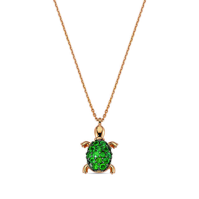 Swoonery-Aqua Light Small Turtle Necklace with Emeralds