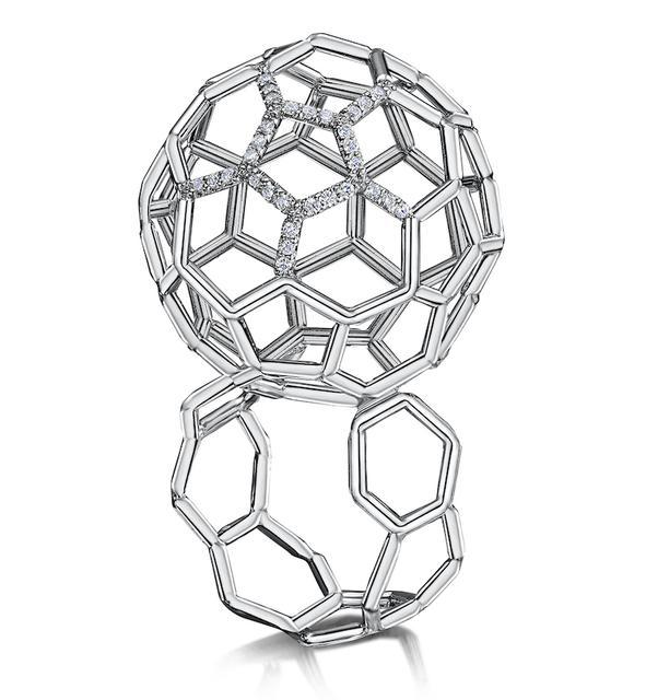 Swoonery-Air Sphere Diamond Platinum Ring