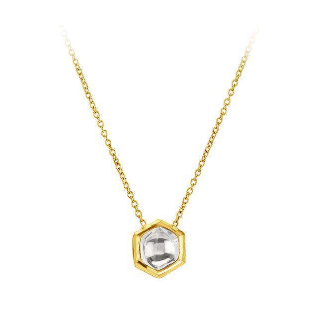 Swoonery-Kundan Vintage Diamond Hexagon Pendant Necklace