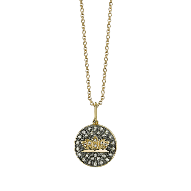 Swoonery-Small Pave Lotus Medallion