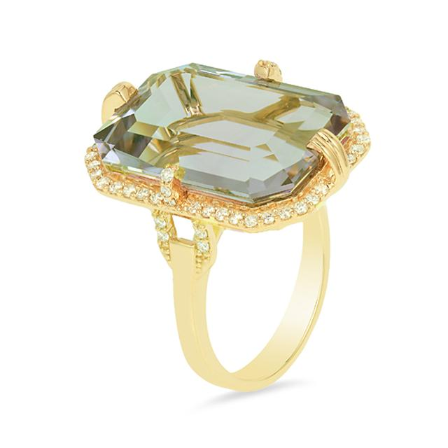 Swoonery-Gossip Emerald Cut Ring With Prasiolite