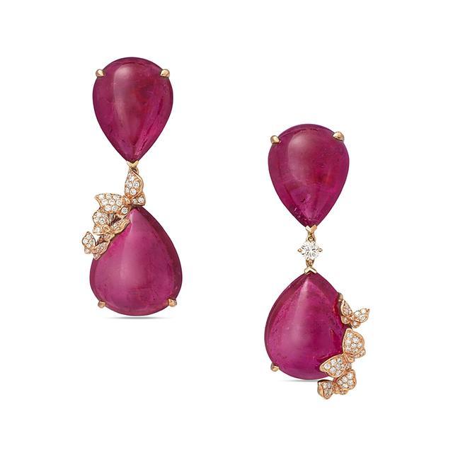 Swoonery-Dancing Butterfly Rubelite Earrings