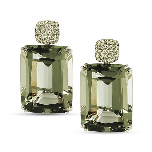 Swoonery-Gossip Collection Cushion Earrings With Prasiolite