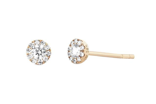 Swoonery-Mini Diamond Stud Earring - Pair
