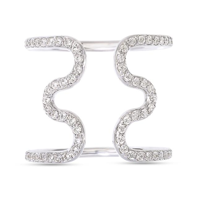 Swoonery-Open Wiggly Ring set with Diamonds
