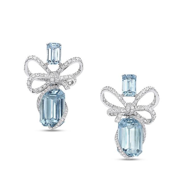 Swoonery-Lyla'S Bow Aquamarine Earrings