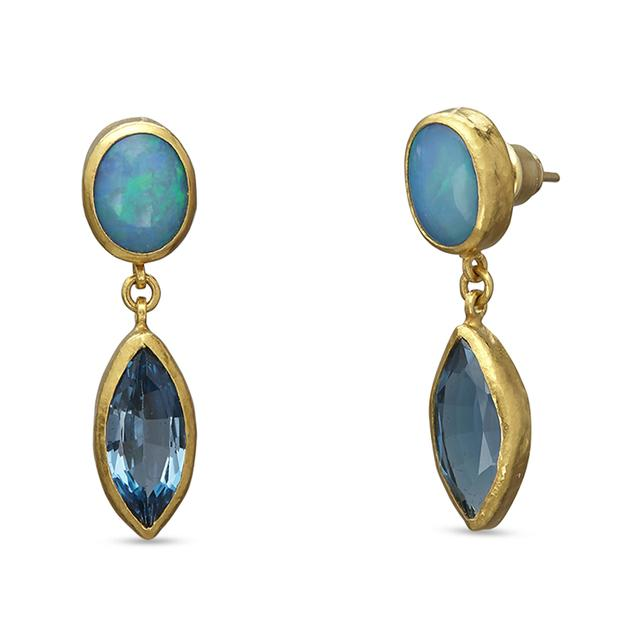 Swoonery-Amulet Hue Blue Topaz and Opal Earrings