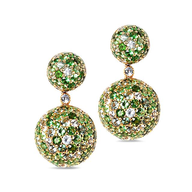 Swoonery-Green Sphere Drop Earrings