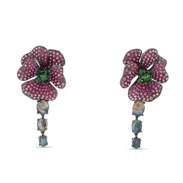 Swoonery-Pink Sapphire Bloom Drop Earrings