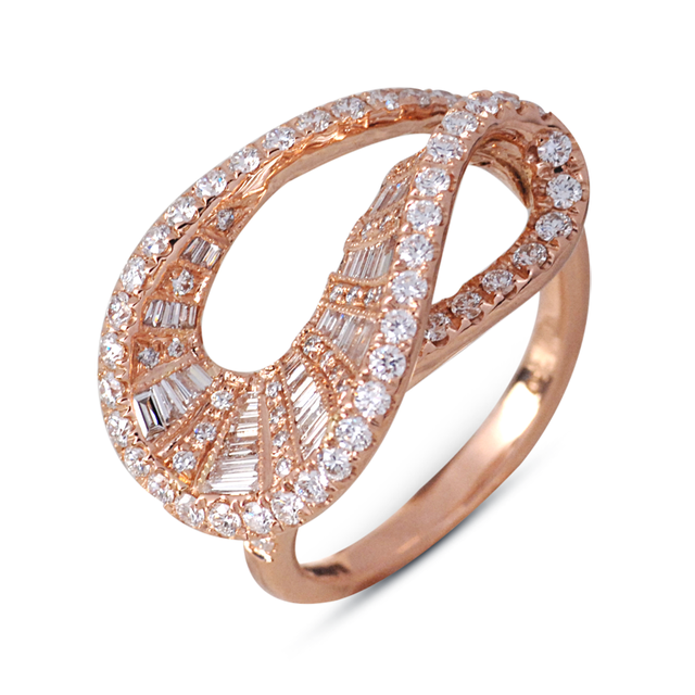Swoonery-Rose Gold Wave Ring