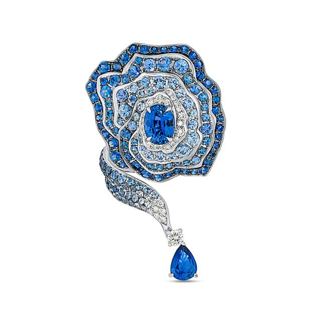 Swoonery-Enchanted Garden Elongated Ring In Diamonds And Blue Sapphires