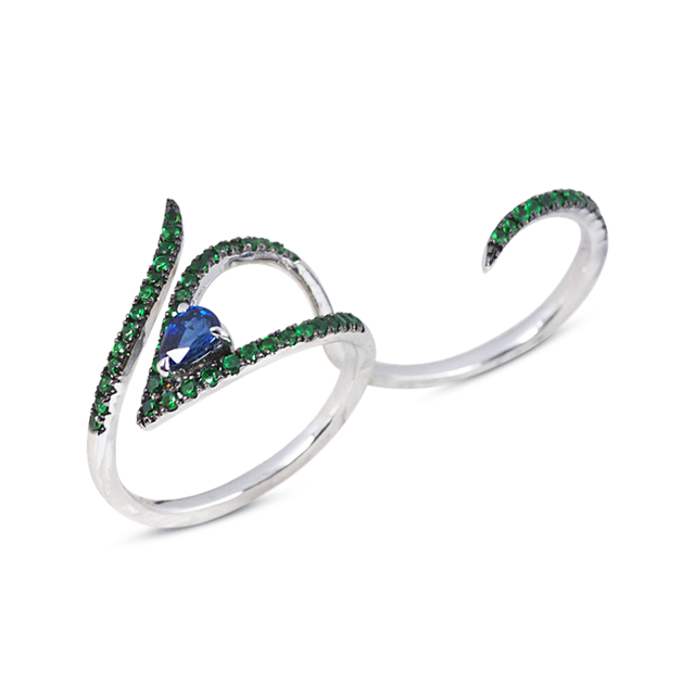 Swoonery-White Gold Le Phoenix Double-Finger Glow Ring