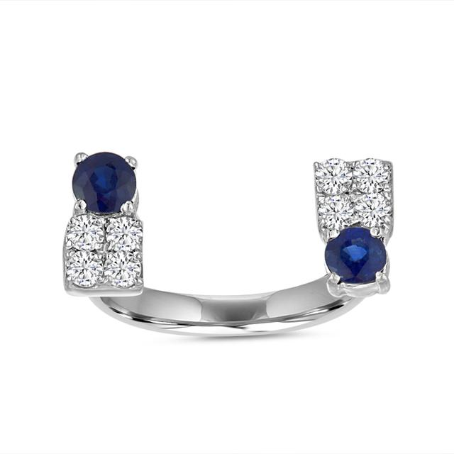 Swoonery-Sapphire Deco Open Finger Ring