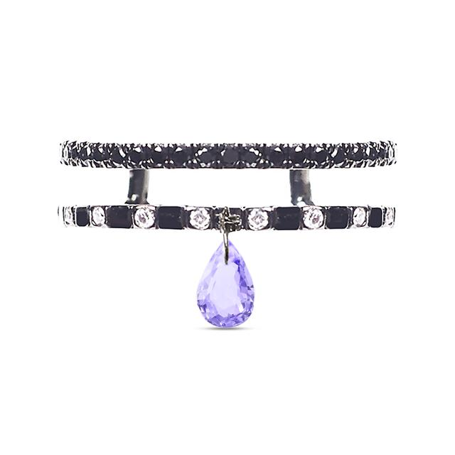 Swoonery-Purple Sapphire Double Band Ring