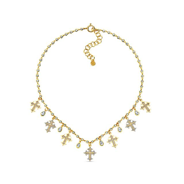 Swoonery-20K Diamond Cross Charm Necklace