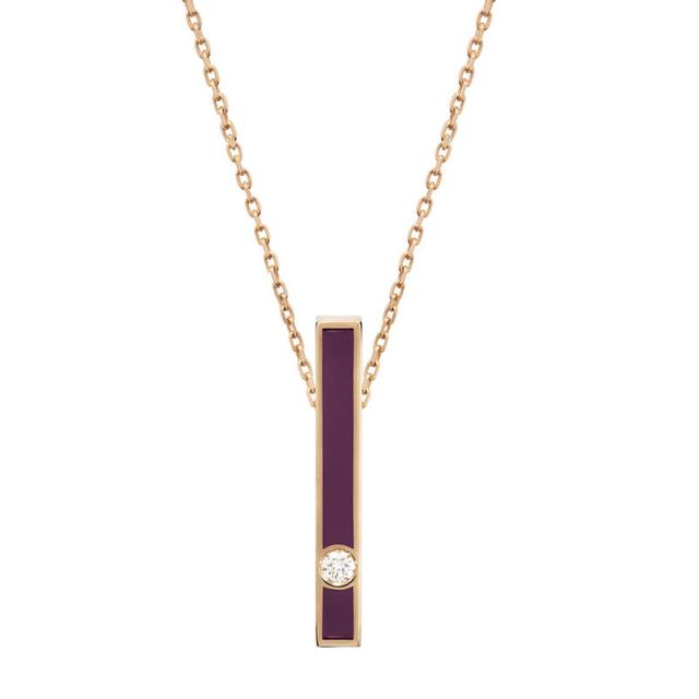 Swoonery-Vertical purple enamel diamond bar necklace