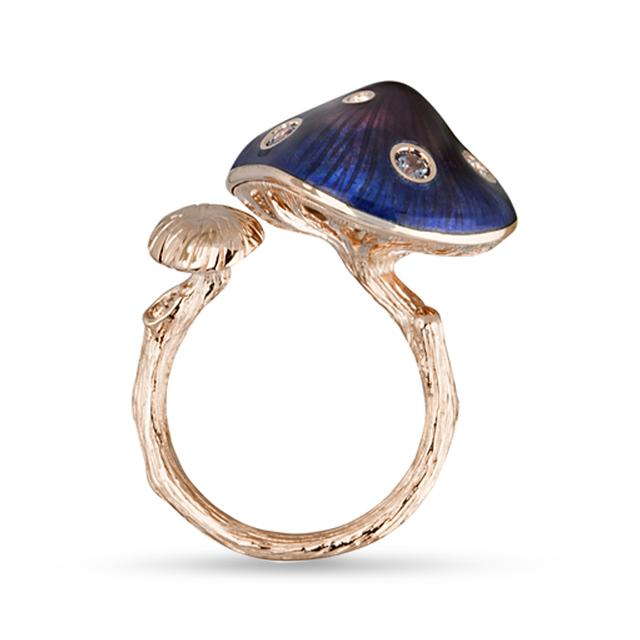 Swoonery-Purple/Blue Enamel Mushroom Ring