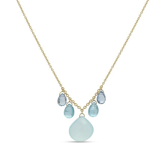Swoonery-Aqua Chalcedony and Blue Topaz Briolette Necklace