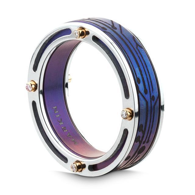 Swoonery-Anodized Titanium Bridge Ring