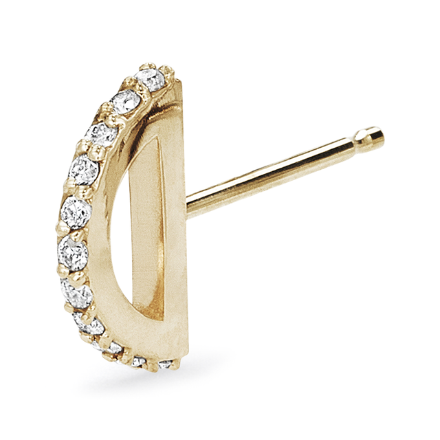 Swoonery-Pave Half Circle Single Stud