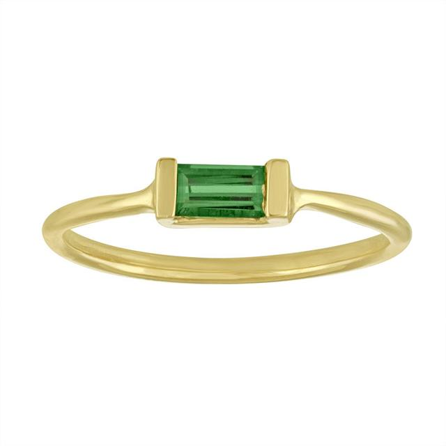 Swoonery-Blue Green Tourmaline Single Baguette Ring