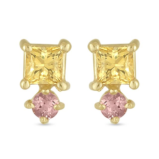 Swoonery-Yellow Sapphire and Pink Tourmaline Square Stud Earring