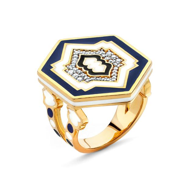 Swoonery-20K Lantern Hexagonal Ring