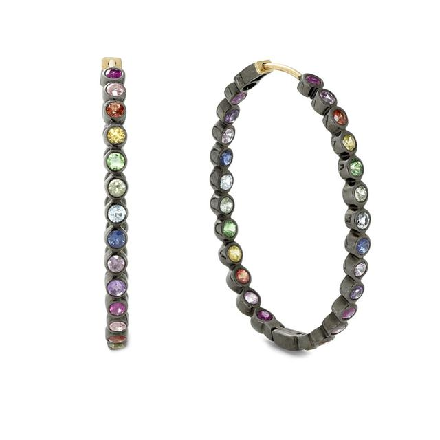 Swoonery-Small Rainbow Sapphire Hoops