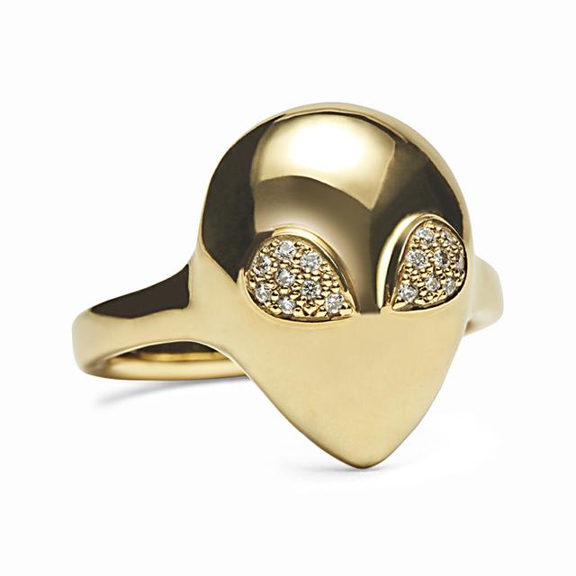 Swoonery-Micro Yellow Gold Alien Ring