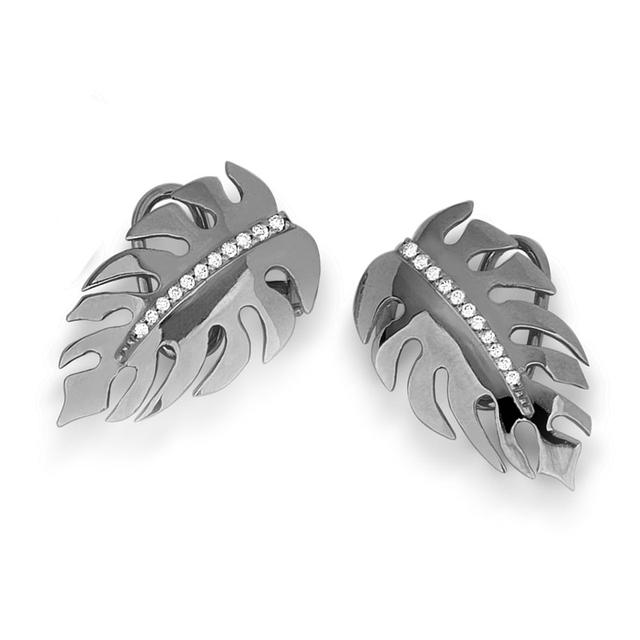 Swoonery-Monstera Mini earrings Black Rhodium