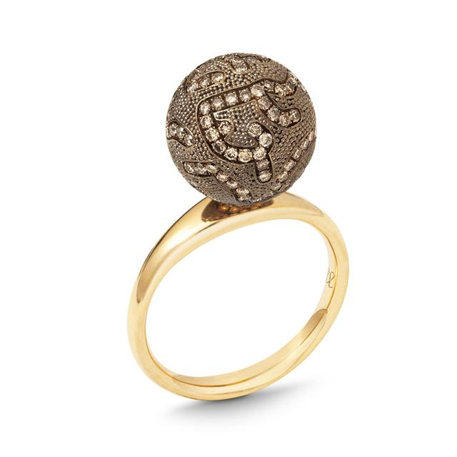 Swoonery-SMALL BROWN DIAMOND BALL RING