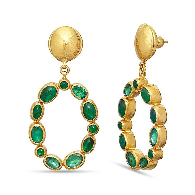 Swoonery-Emerald Amulet Earrings