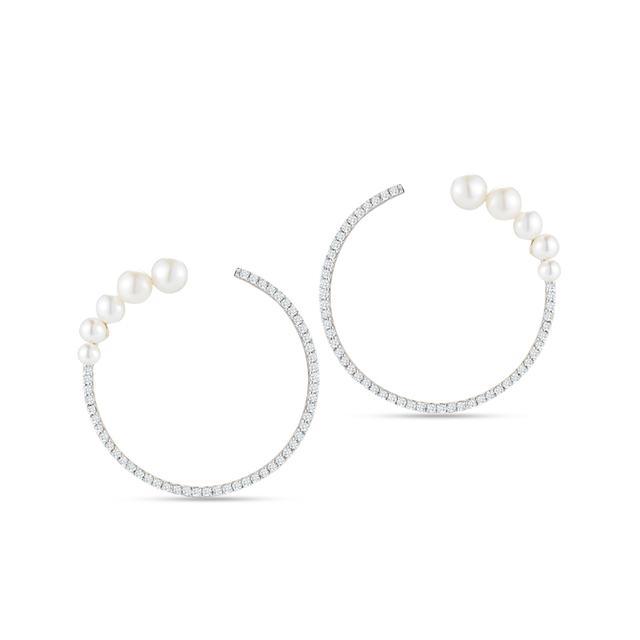 Swoonery-14K Gold Graduated Pearl & Diamond Hoop