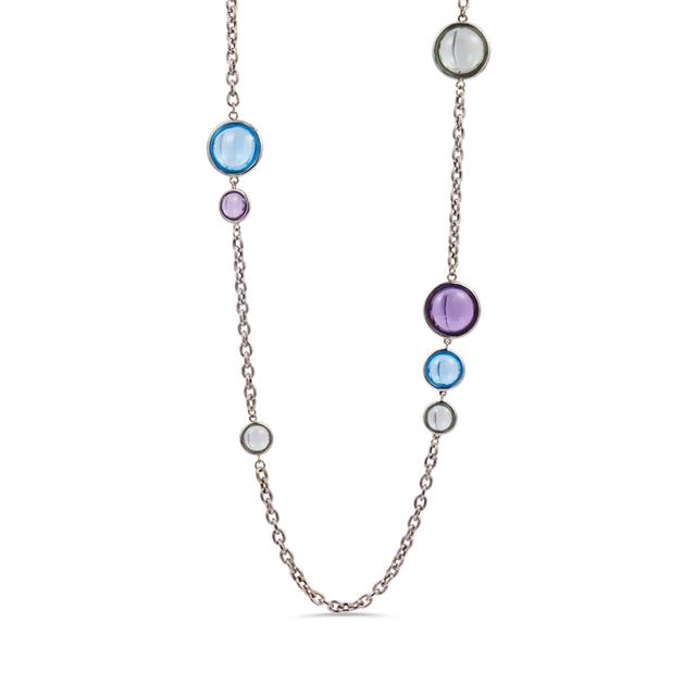 Swoonery-Mischief Collection Disc Oval Necklace With Amethyst & Topaz