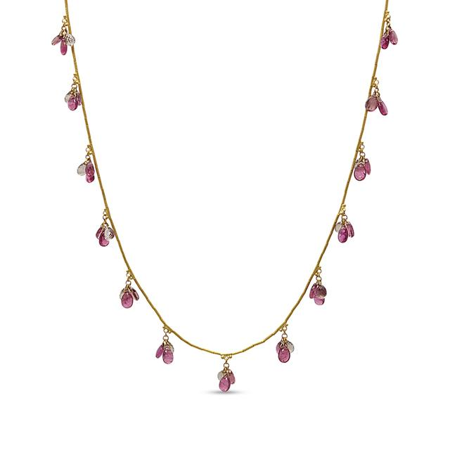 Swoonery-Delicate Dew Triple Cluster Necklace