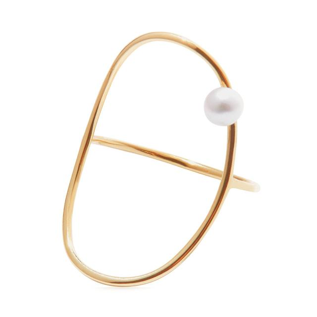 Oval Perlee Ring in 14K Yellow Gold and Pearl Anissa Kermiche 4SiSl