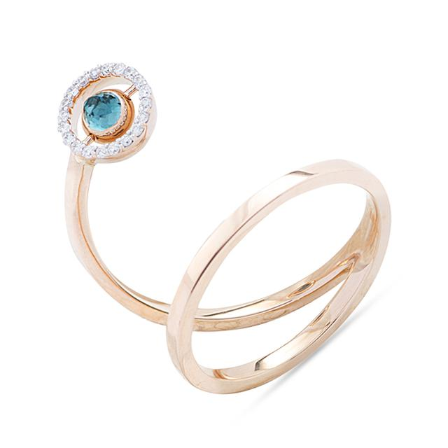 Swoonery-Swinging Stone Spiral Ring