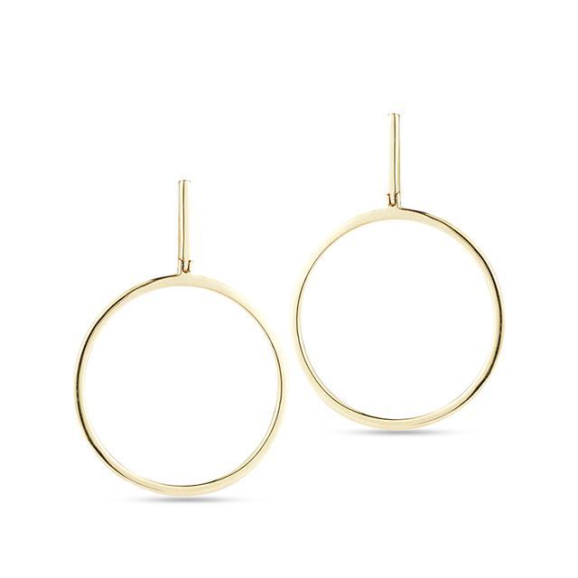 Swoonery-Gold Drop Circle Earrings