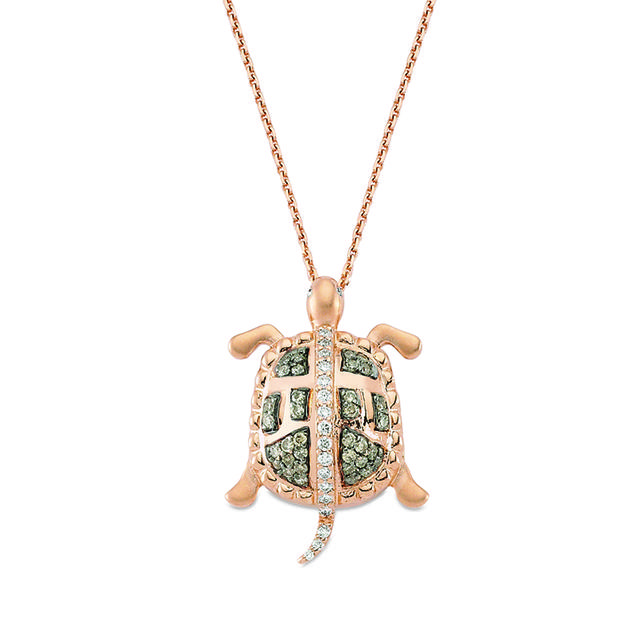 Swoonery-Aqua Light Turtle Necklace with Brown Diamonds