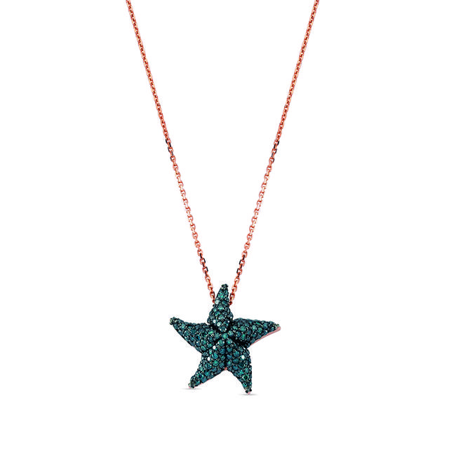 Swoonery-Aqua Light Starfish Necklace with Blue Diamonds