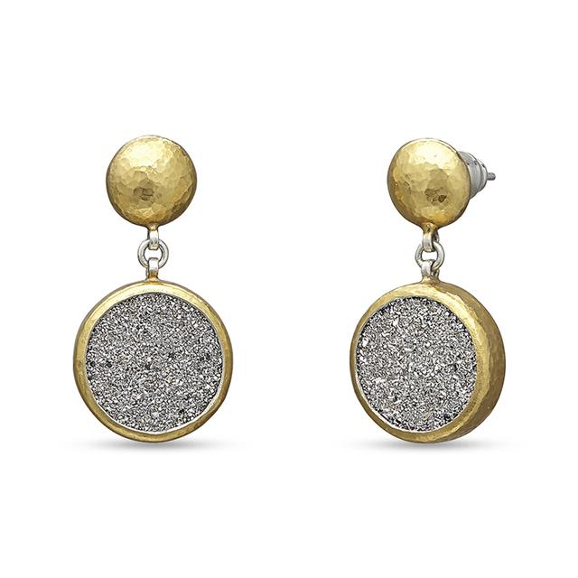 Swoonery-Mystere Round Drusy Sterling Silver Drop Post Earrings