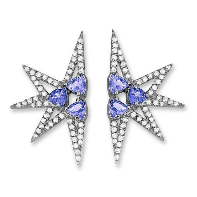 Swoonery-Shine Mini earrings - Tanzanites Black Rhodium