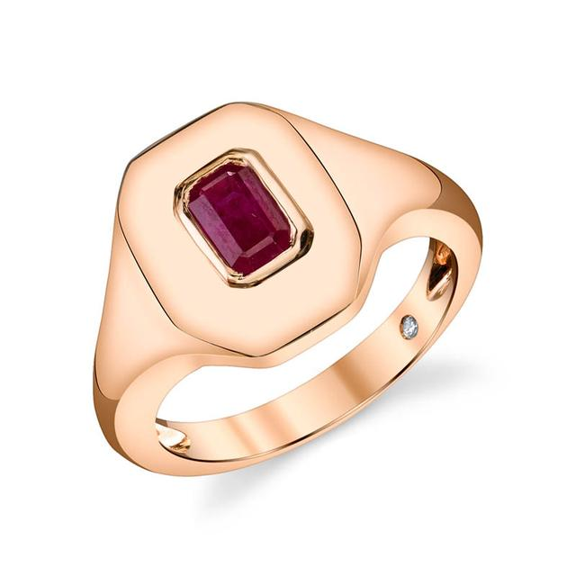 Swoonery-Ruby Baguette Pinky Ring
