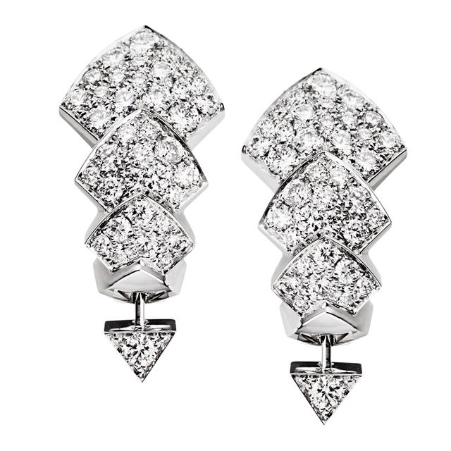 Swoonery-White Gold Python earrings