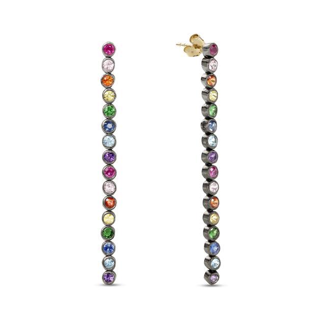 Swoonery-Long Sapphire Drop Earrings