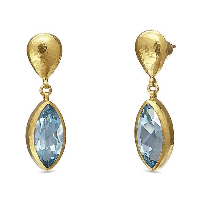 Swoonery-Rainbow Hue Blue Topaz Single Drop Earrings