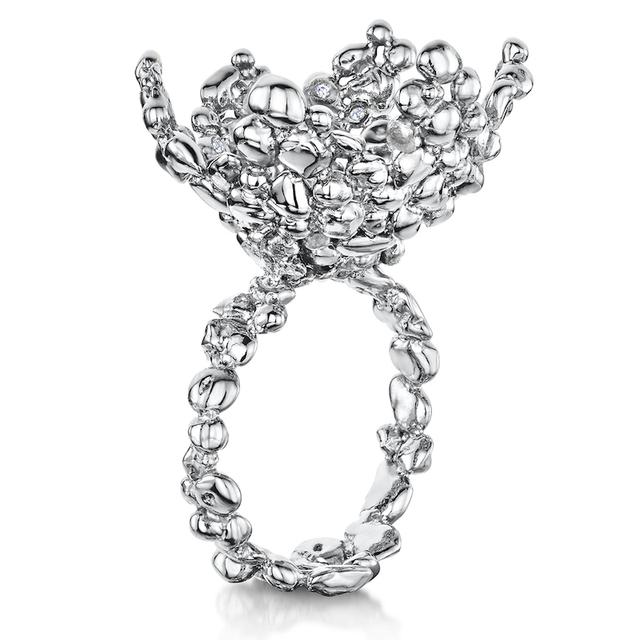 Swoonery-Coalescence Diamond White Cocktail Ring