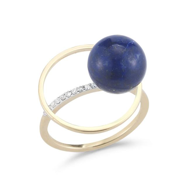 Swoonery- Lapis Orbit Ring with Diamonds